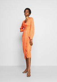 Closet - PLEATED WRAP DRESS - Day dress - orange - 2