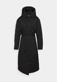 Missguided - HOODED DIAMOND QUILTED COAT - Classic coat - black - 0