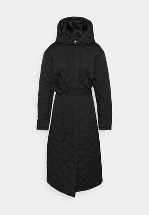 HOODED DIAMOND QUILTED COAT - Klassinen takki - black