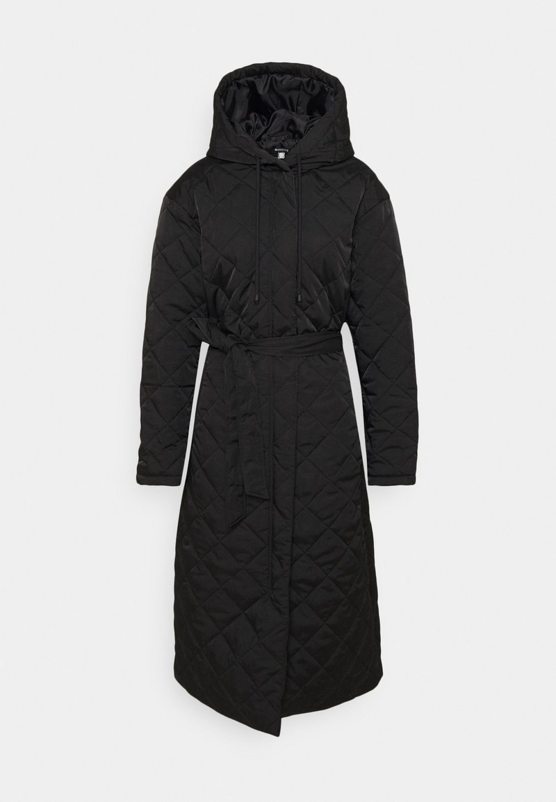 Missguided - HOODED DIAMOND QUILTED COAT - Classic coat - black