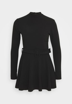 HIGH NECK SKORT PLAYSUIT - Sukienka z dżerseju - black
