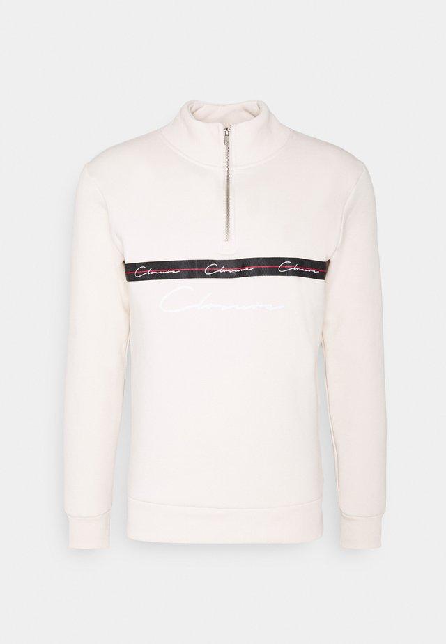 TAPED HALF ZIP FUNNEL NECK - Sweatshirt - off white