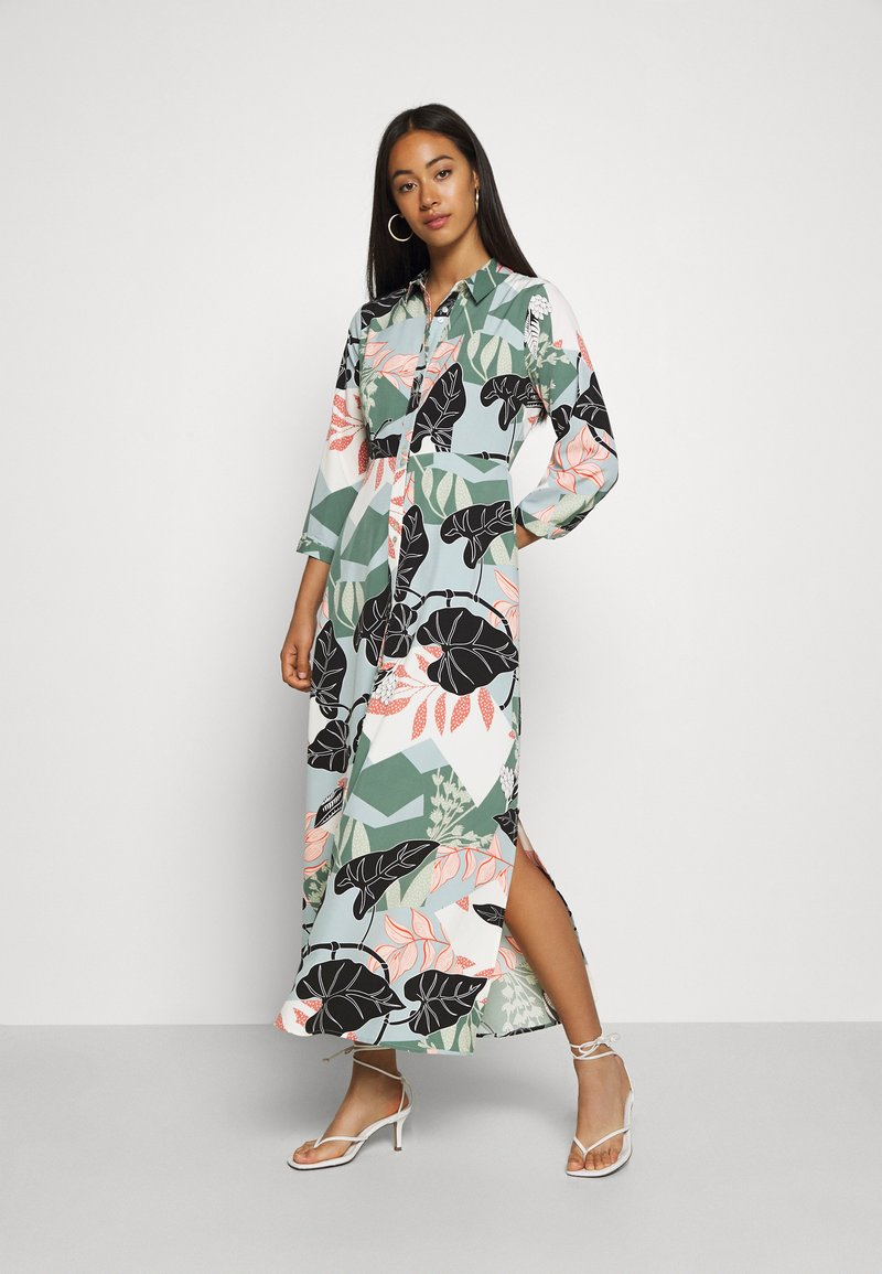 YAS - YASIVY 3/4 ANKLE DRESS - Skjortekjole - gray mist/ivy