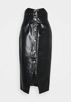 HIGH WAIST TULIP - Pouzdrová sukně - black