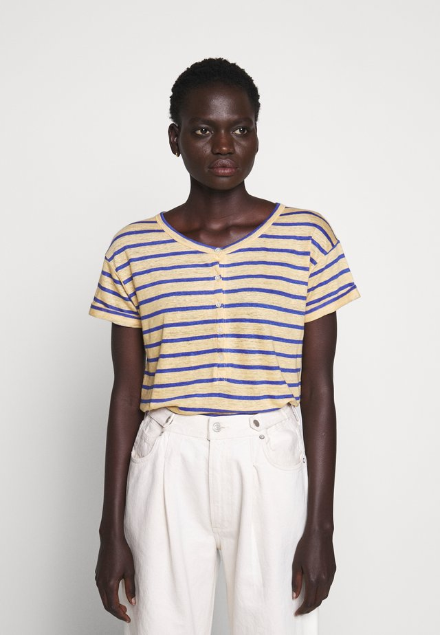 ROLL CUFF HENLEY STRIPE - T-shirt con stampa - yellow/sea marie