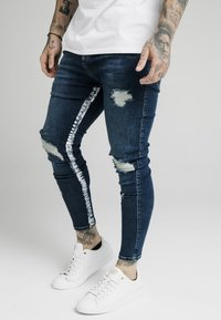 SIKSILK - SKINNY FIT PAINT STRIPE WITH DISTRESSING - Jeans Skinny - midstone blue/white - 0