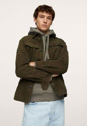 CANISF - Leather jacket - khaki