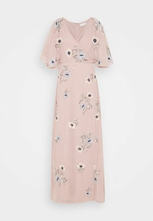 KIMONO FLORAL EMBELLISHED WRAP DRESS - Maxikjole - frosted pink