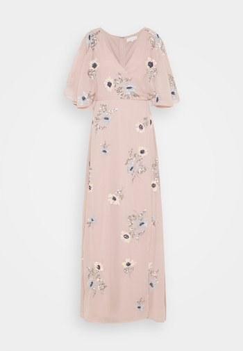 KIMONO FLORAL EMBELLISHED WRAP DRESS - Vestito lungo - frosted pink