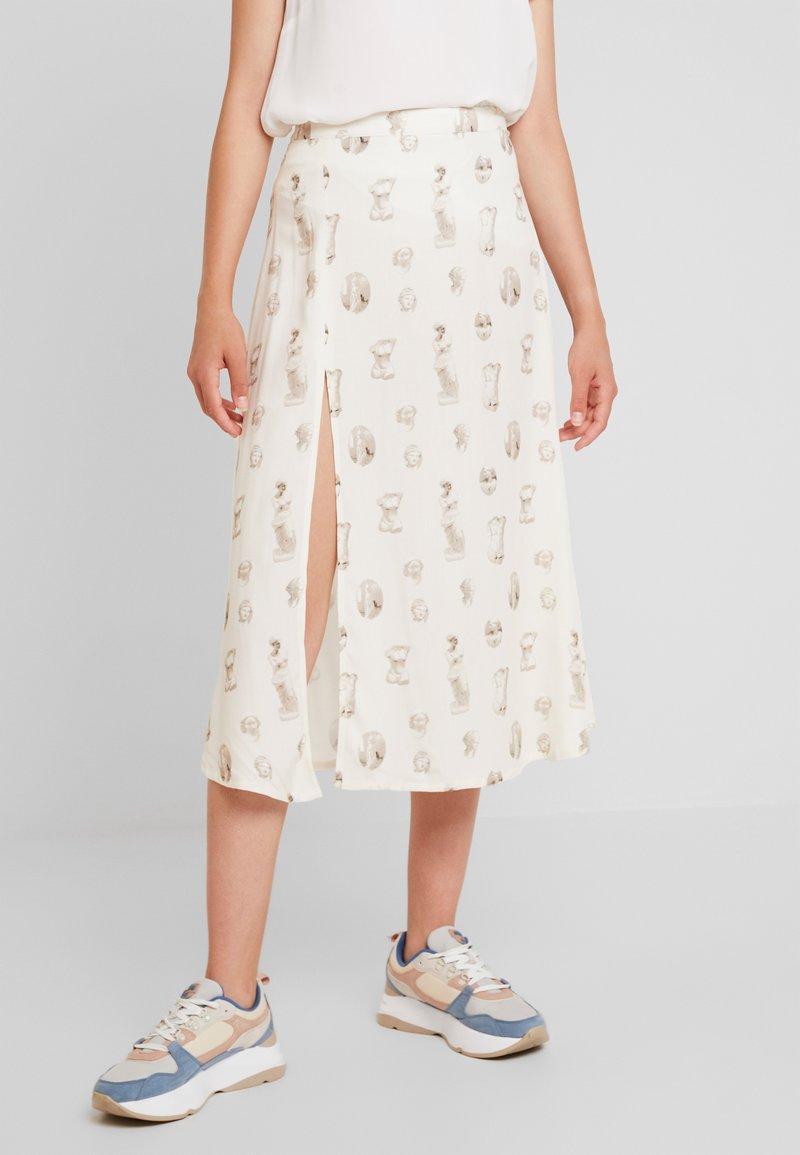 NA-KD - SIDE SPLIT MIDI SKIRT - A-line skirt - beige