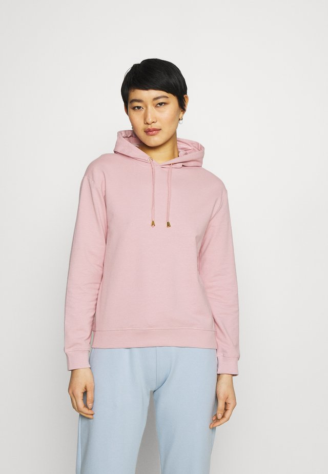 Basic loose hoodie with gold trim - Mikina skapucí - pink