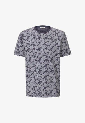 T-shirt med print - navy white agave design