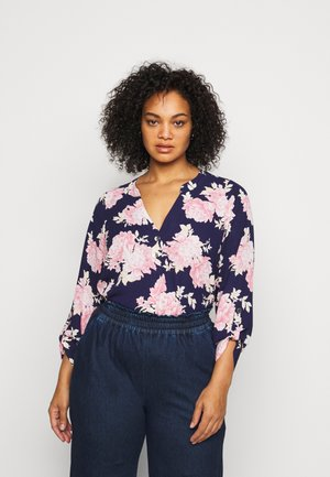 FLORAL ROLL SLEEVE - Bluser - navy