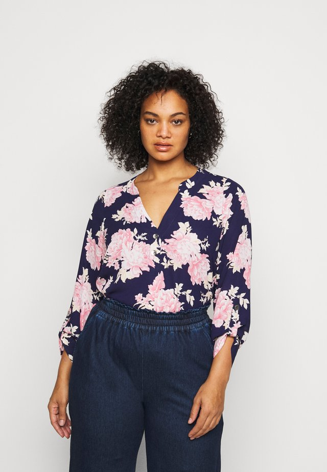 FLORAL ROLL SLEEVE - Blouse - navy
