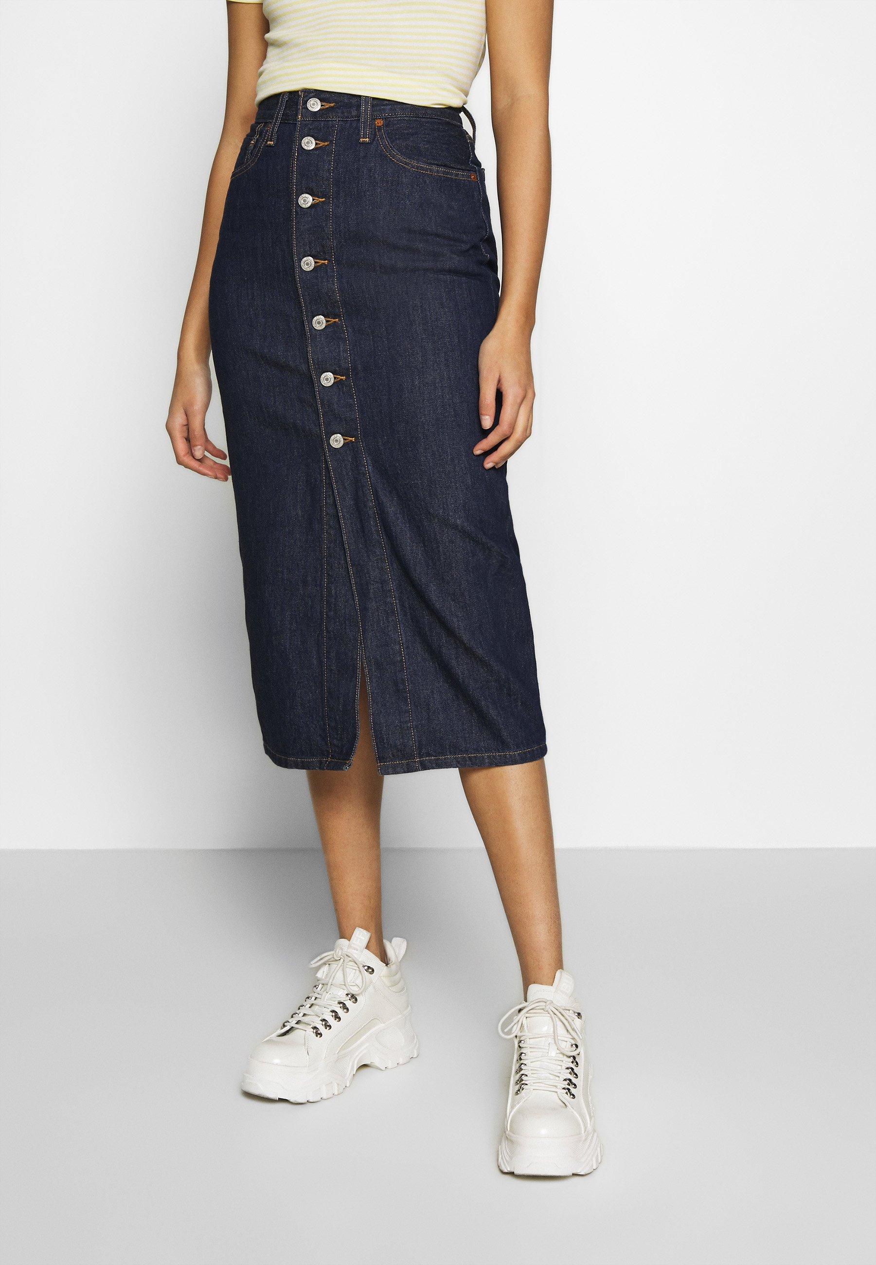 Women BUTTON FRONT MIDI SKIRT - Pencil skirt