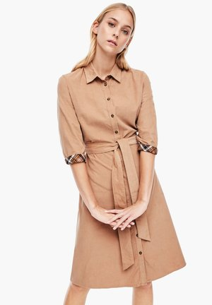 MIT CHECK-DETAIL - Shirt dress - camel