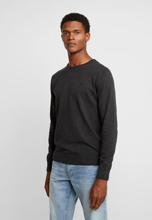 BASIC CREW NECK - Jersey de punto - black grey melange