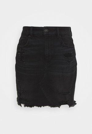 CURVY SKIRT - Denim skirt - destroyed black