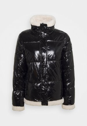 FUNNEL NECK PUFFER WITH SHERPA - Veste d'hiver - black