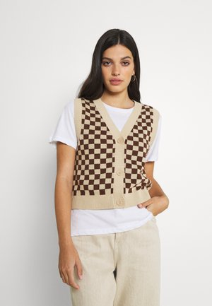 Waistcoat - brown and beige