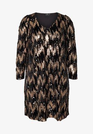 LANGARM VELOUR MIT PAILLETTEN - Day dress - black