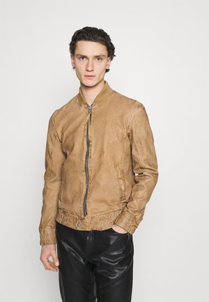FUDO - Leather jacket - sand