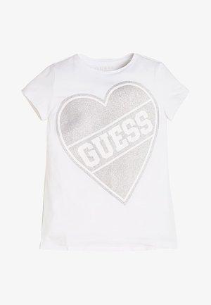 GLITTER HERZ - T-shirt imprimé - weiß