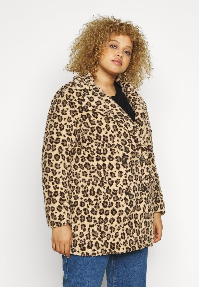 ANIMAL PRINT TEDDY COAT - Giacca invernale - brown