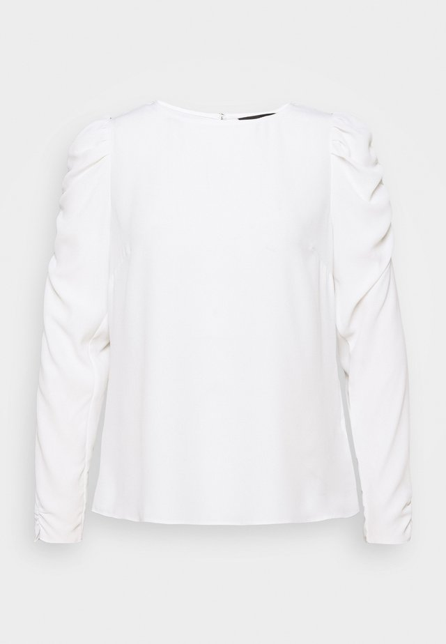 LONG SLEEVE PUFF SHOULDER - Bluzka - white