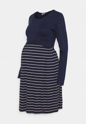 LIANE  - Jersey dress - navy blue/off white stripes