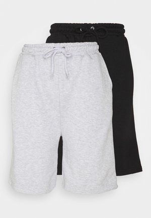 CASUAL PLAIN 2 PACK  - Shorts - black/grey