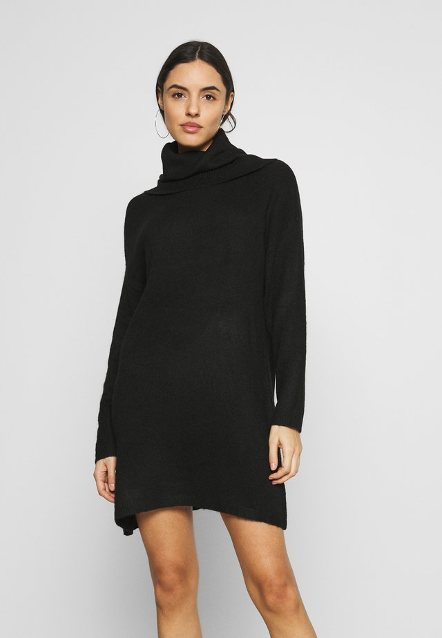 JULIETTE ROLL NECK MINI DRESS - Neulemekko - black