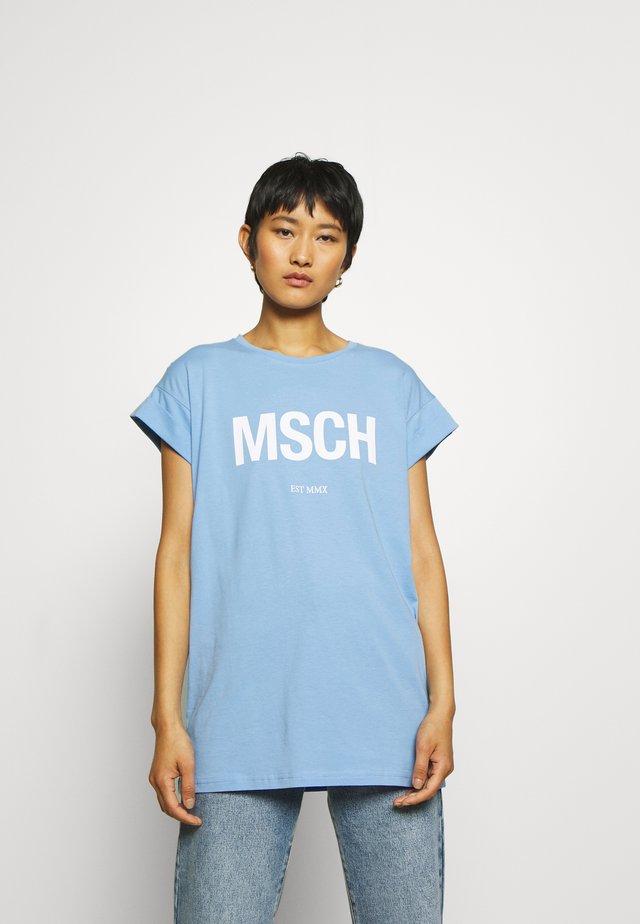 ALVA TEE - Print T-shirt - blue/white