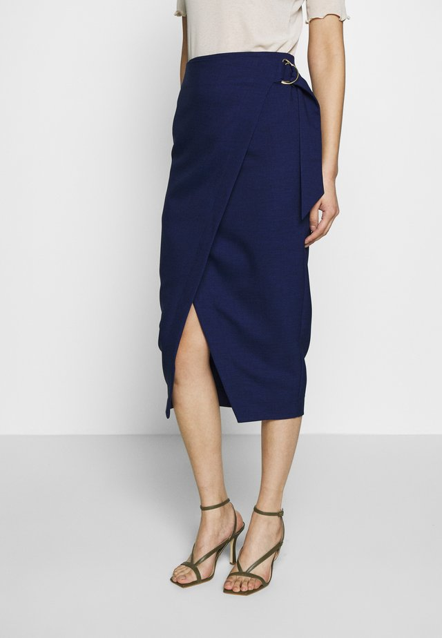 D-RING PENCIL SKIRT - Wrap skirt - navy