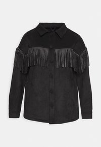 Simply Be - LONGLINE FRINGE SHACKET - Faux leather jacket - black - 5