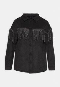 LONGLINE FRINGE SHACKET - Faux leather jacket - black