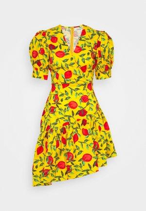 POPLIN MINI WRAP DRESS - Day dress - yellow/red