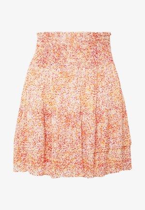 FLORAL SHORT SKIRT - Áčková sukně - apricot brandy