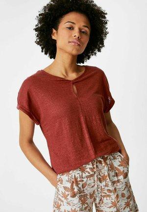 Leinen - Print T-shirt - brown/dark red