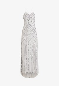 ALL OVER EMBELLISHED WITH TRAIN - Occasion wear - soft grey