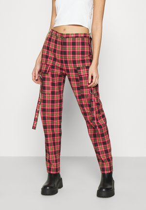 CHECK PANTS WITH EYELET STRAPS AND BUCKLES - Kalhoty - red/multi