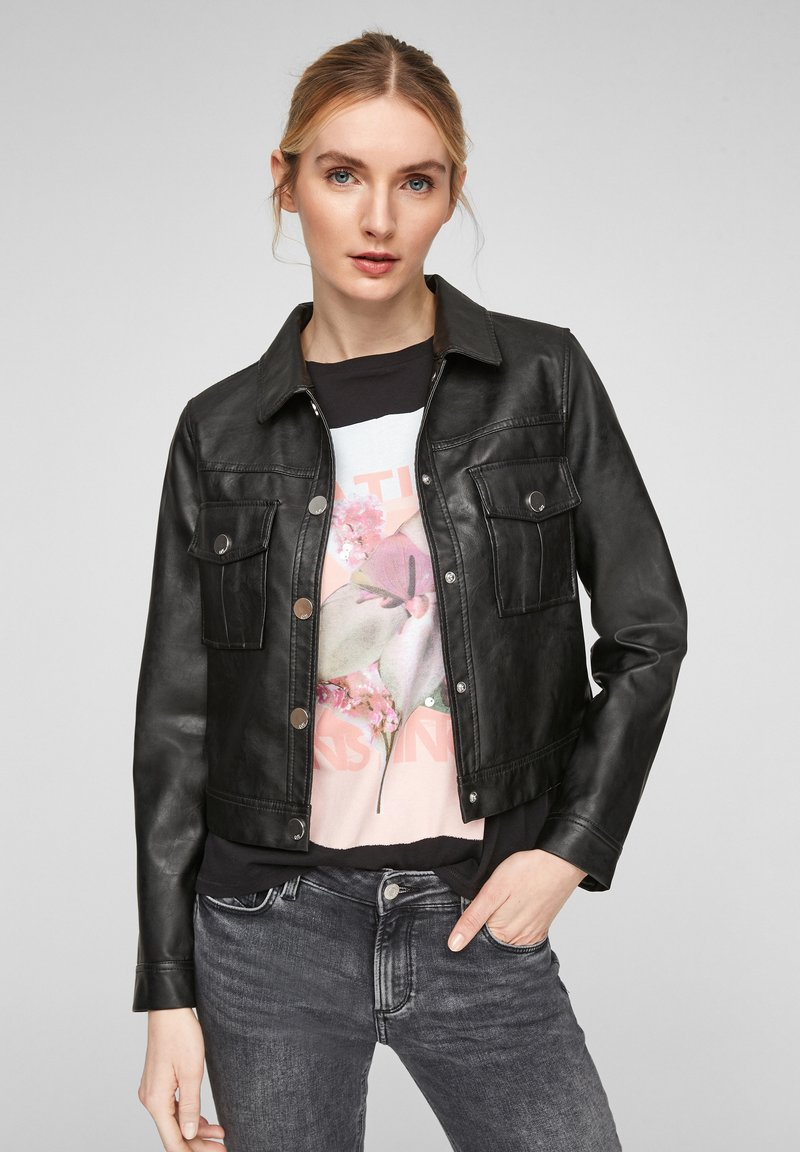 QS by s.Oliver - Faux leather jacket - black