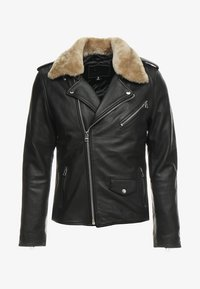 Goosecraft - GALLERY - Leather jacket - black/offwhite - 5