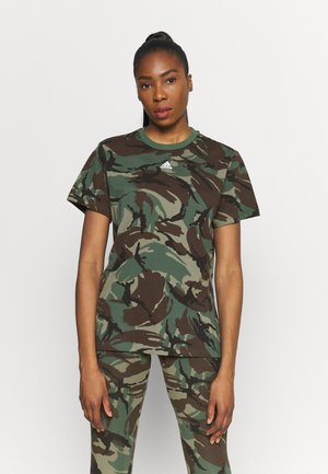 CAMO - T-shirt con stampa - legend green/dark brown/white