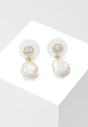 SHAPE SHORT - Earrings - gold-coloured/white