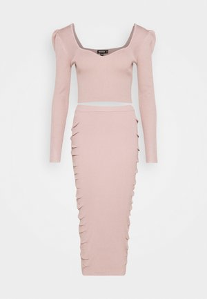 PUFF SLEEVE AND SKIRT SET - Sweter - pink