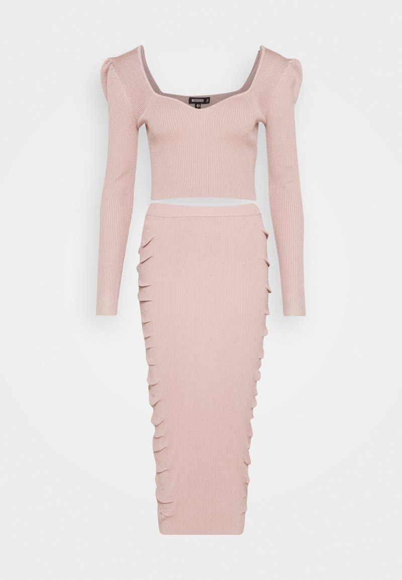 Missguided - PUFF SLEEVE AND SKIRT SET - Jumper - pink