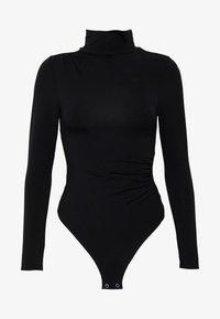 RUCHED TURTLE NECK BODYSUIT - Long sleeved top - black