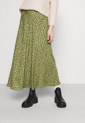 VIGREENAS MIDI SKIRT - Maxi skirt - green olive/black flower