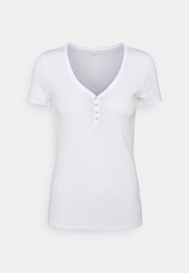 HENLEY TEE - T-shirt basic - white global